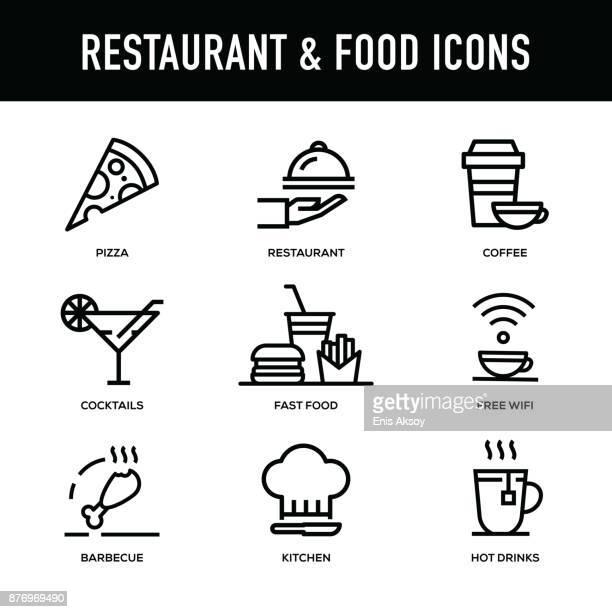 ilustraciones, imágenes clip art, dibujos animados e iconos de stock de restaurante y conjunto de iconos de alimentos - serie de la línea gruesa - gorro de chef