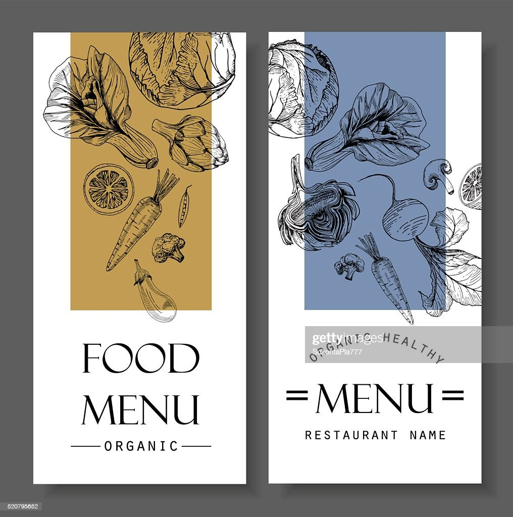 Restaurant food menu design vegetable organic healthy