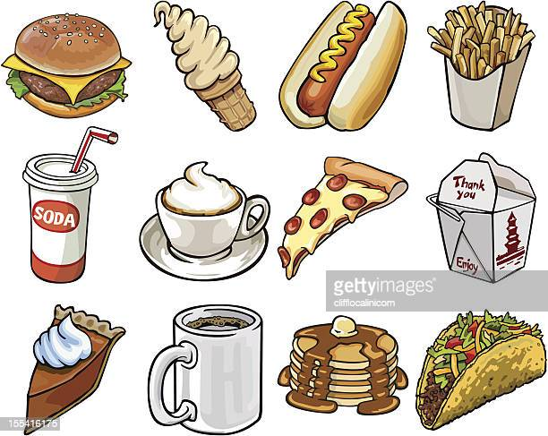 restaurant food on the go - whipped cream stock illustrations, clip art, cartoons, & icons