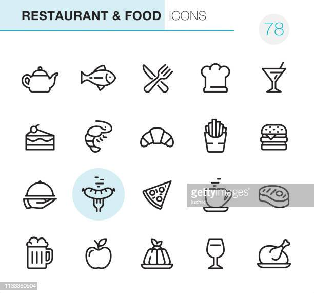 restaurant & food - pixel perfect icons - panna cotta stock illustrations, clip art, cartoons, & icons