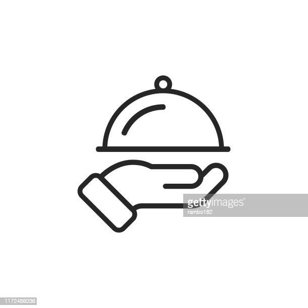 restaurant, food serving line icon. editable stroke. pixel perfect. for mobile and web. - restaurant stock illustrations