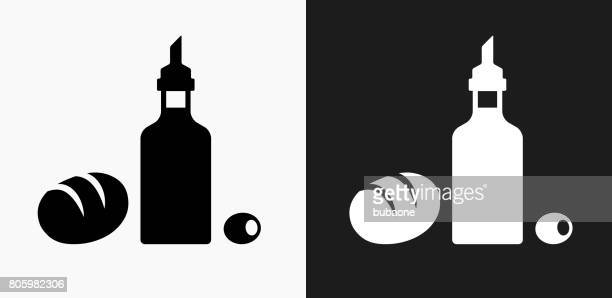 Restaurant Foods Icon on Black and White Vector Backgrounds