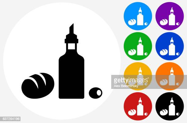 Restaurant Foods Icon on Flat Color Circle Buttons