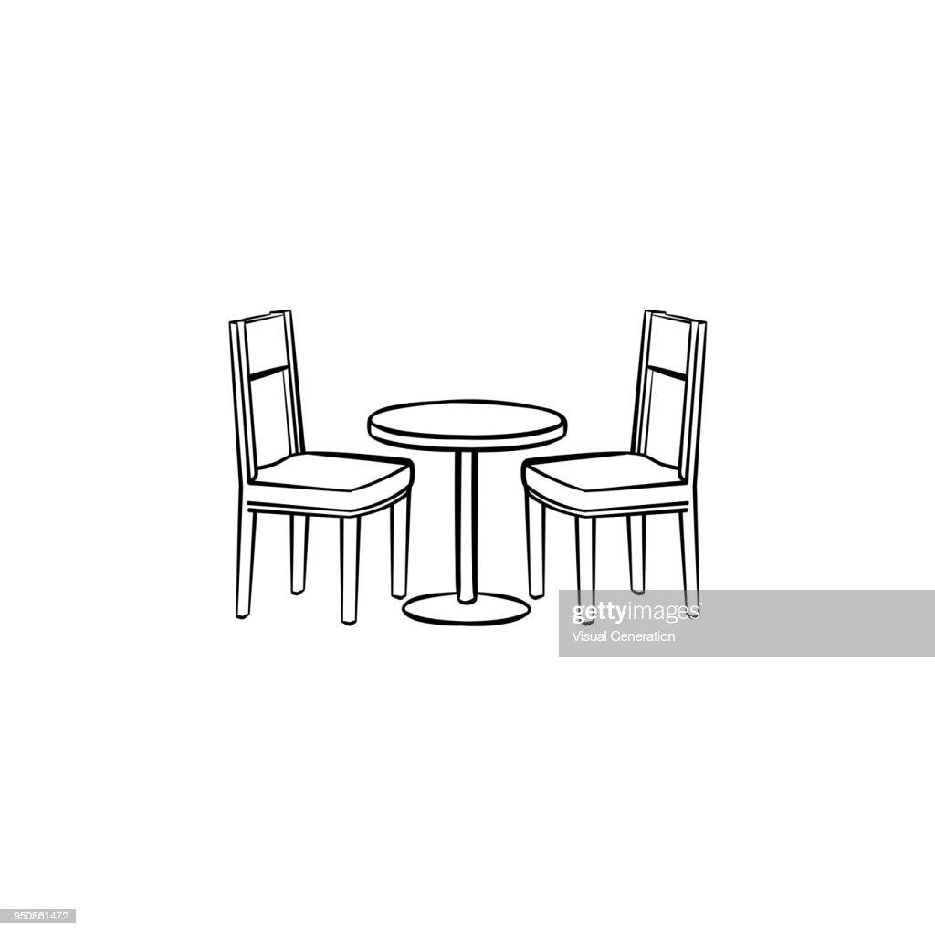 Restaurant furniture hand drawn sketch icon