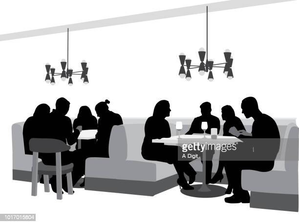 ilustraciones, imágenes clip art, dibujos animados e iconos de stock de restaurante grupos de amigos - mesa de comedor