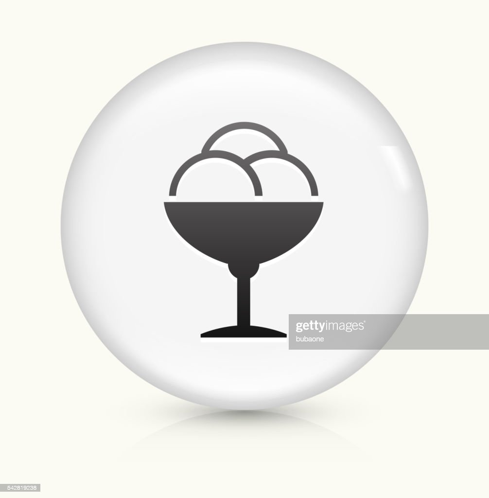 Restaurant Icecream Icon On White Round Vector Button Stock
