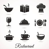 Restaurant icon collection isolated on white backround.