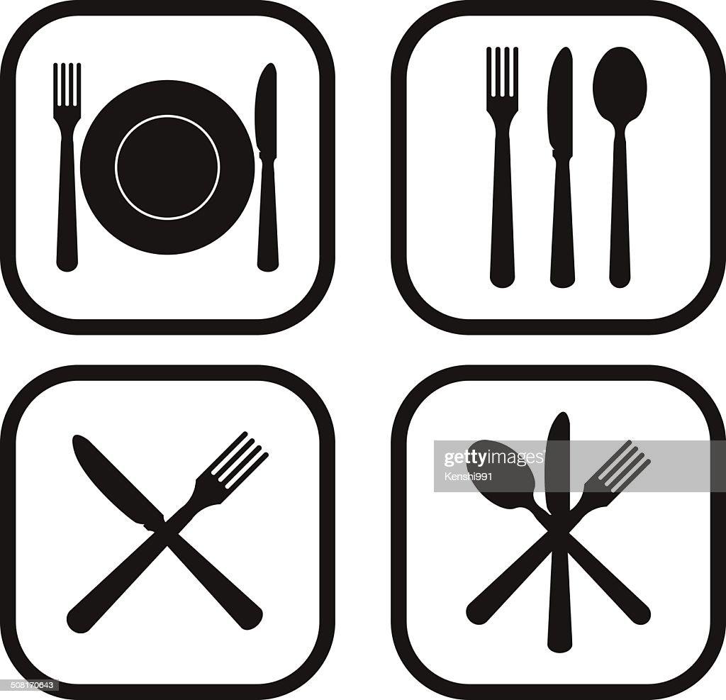 Restaurant icon - four variations