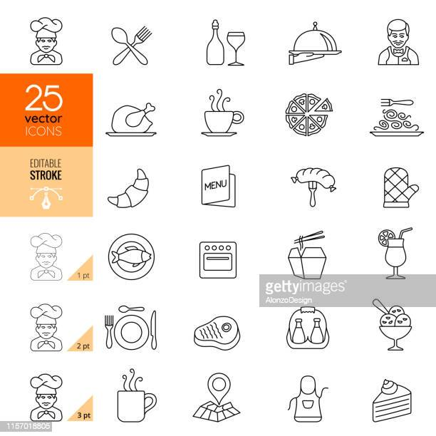 stockillustraties, clipart, cartoons en iconen met restaurant icon set. bewerkbare lijn. - food and drink