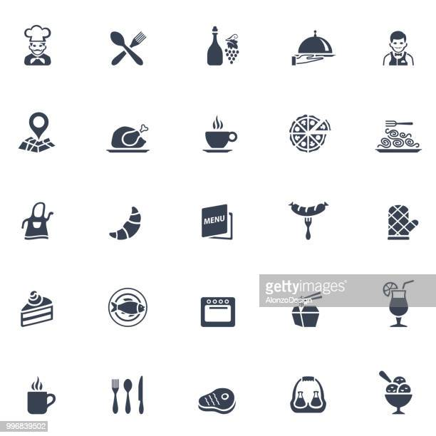 restaurant icon set - gourmet food stock illustrations, clip art, cartoons, & icons