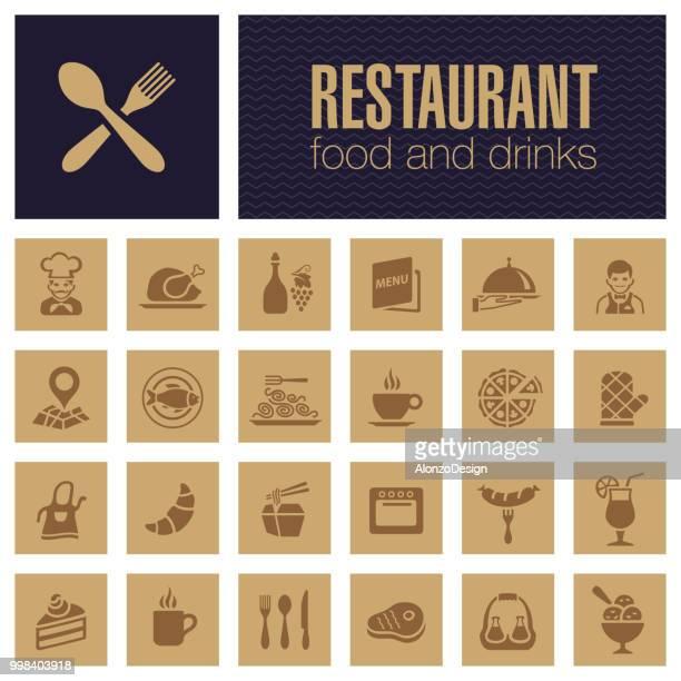 ilustrações de stock, clip art, desenhos animados e ícones de restaurant icon set - pizzaria