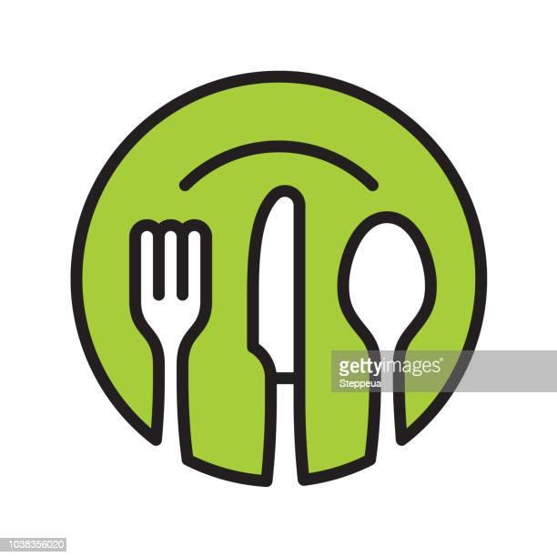 illustrazioni stock, clip art, cartoni animati e icone di tendenza di icona del ristorante - forchetta