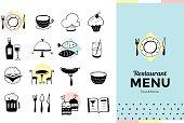 Restaurant icons and menu