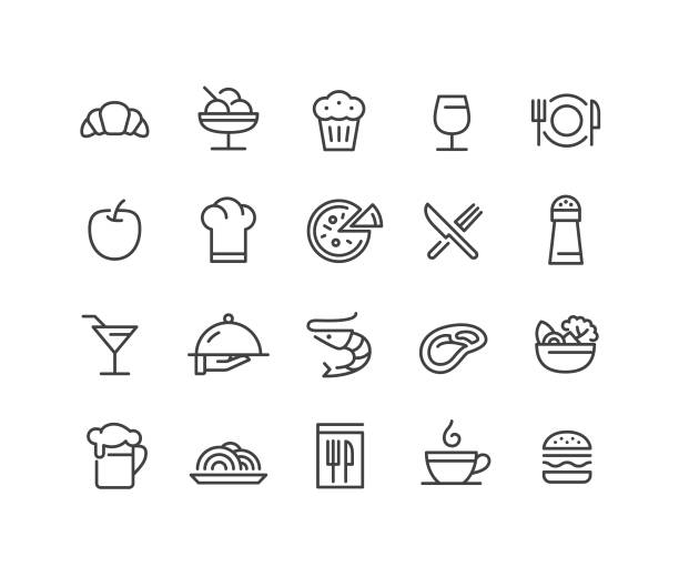 restaurant icons - classic line series - frozen food stock illustrations
