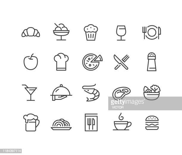restaurant icons - classic line series - salad stock illustrations