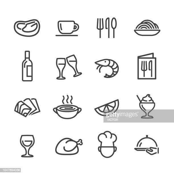 ilustrações, clipart, desenhos animados e ícones de ícones de restaurante - linha série - camarões