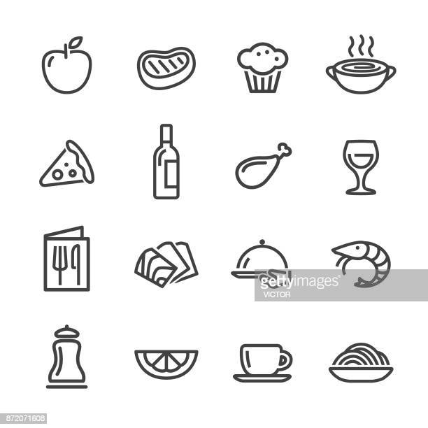 restaurant icons - line series - meat stock illustrations