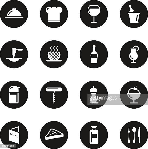 Restaurant Icons Set 1 - Black Circle Series
