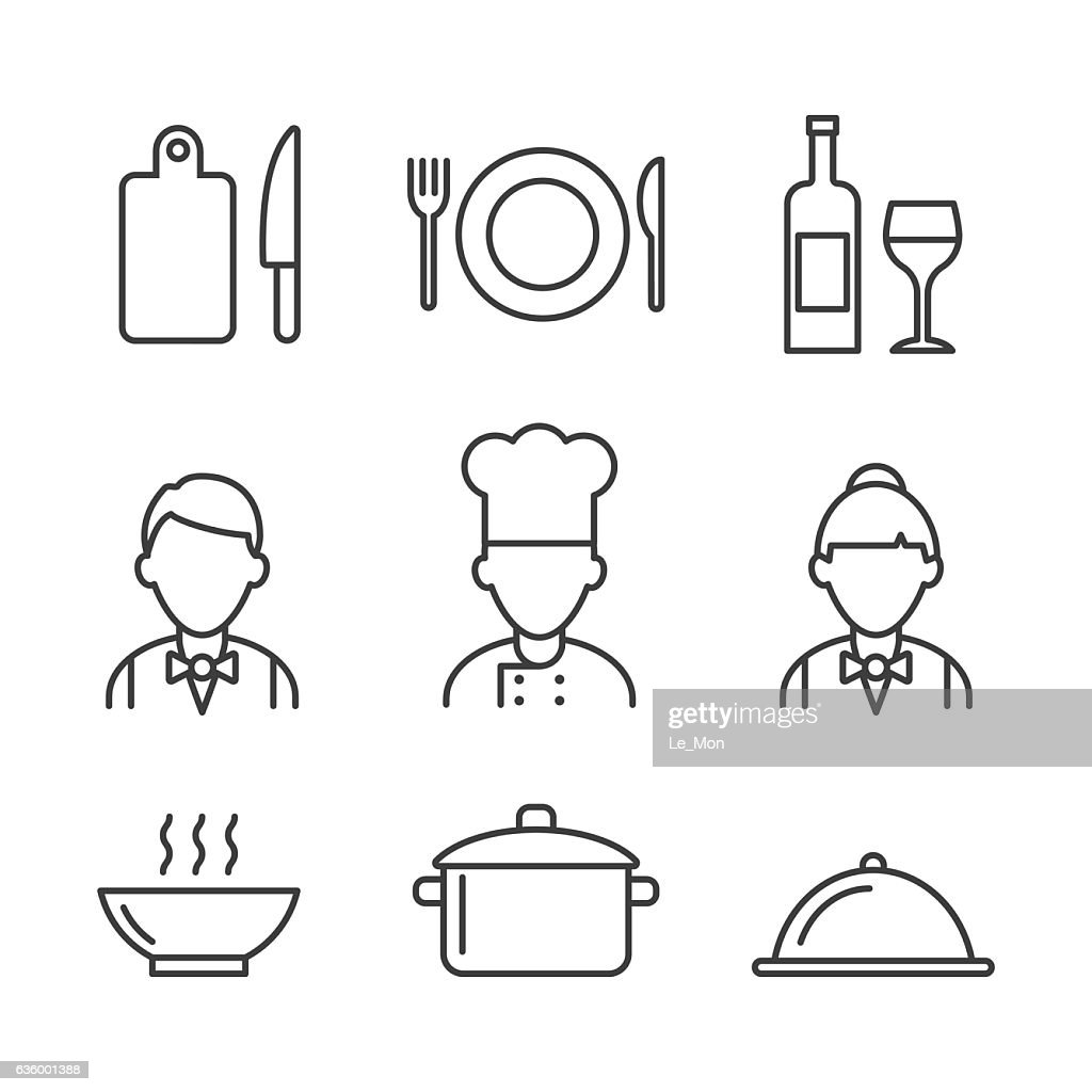 Restaurant icons set. Kitchen icons