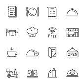 Restaurant, icons set. Line with Editable stroke