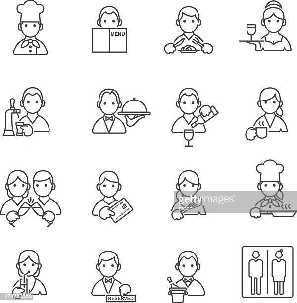 ilustrações, clipart, desenhos animados e ícones de restaurante ícones fina linha. - chef de cozinha