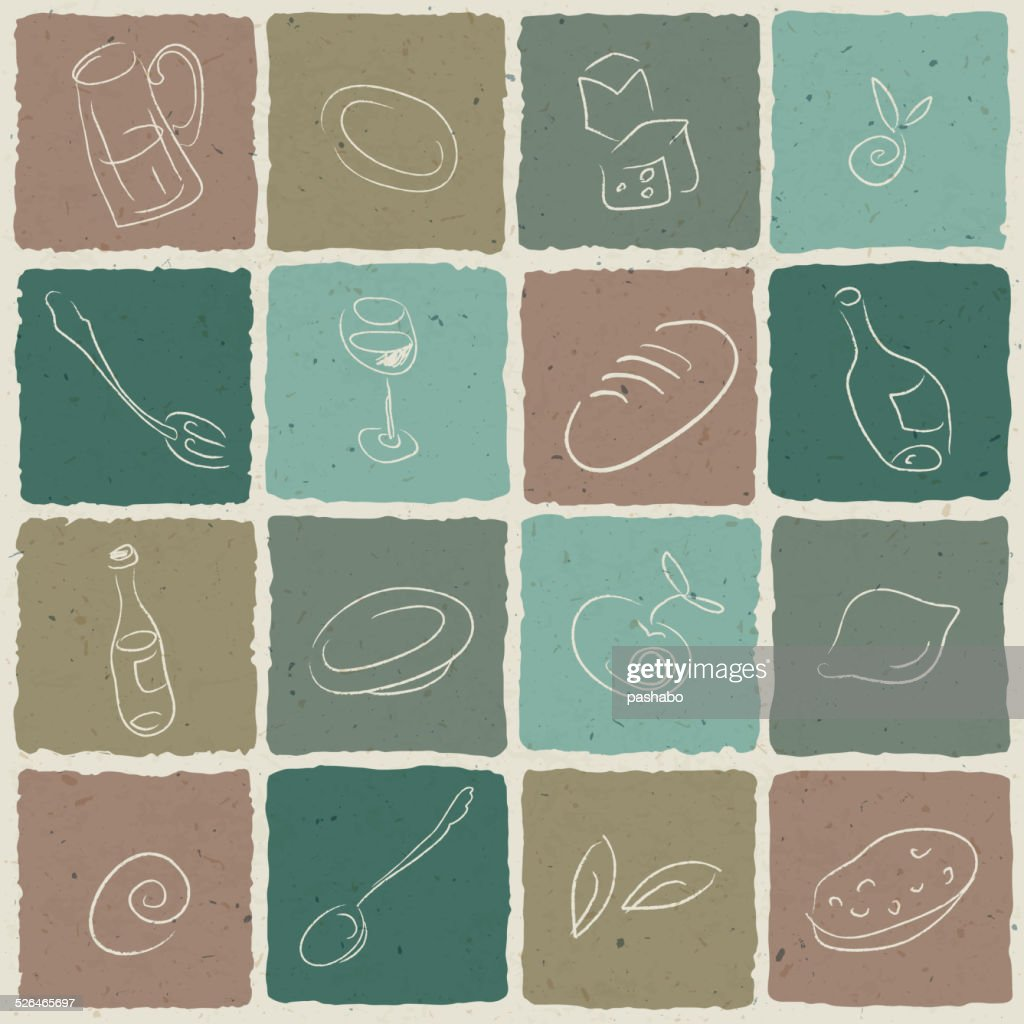 Restaurant icons tiled retro background, vector illustration. EP