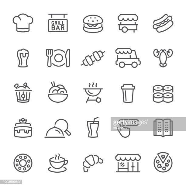 ilustrações, clipart, desenhos animados e ícones de ícones de restaurante - chapéu de cozinheiro