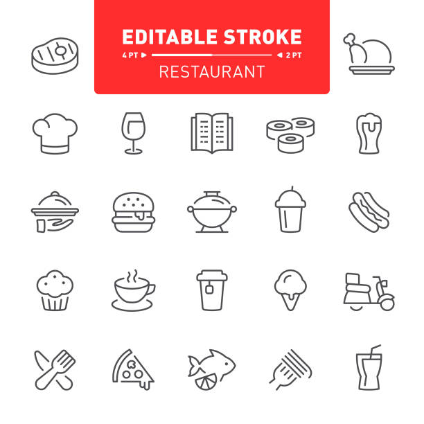 restaurant icons - frozen food stock illustrations