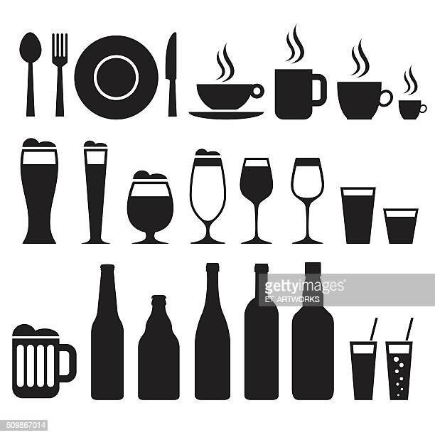 restaurant icons - juice drink stock illustrations, clip art, cartoons, & icons