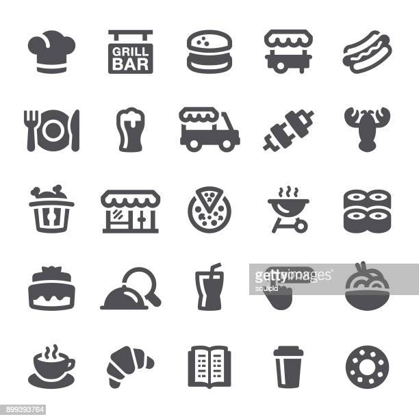 restaurant icons - food and drink stock illustrations
