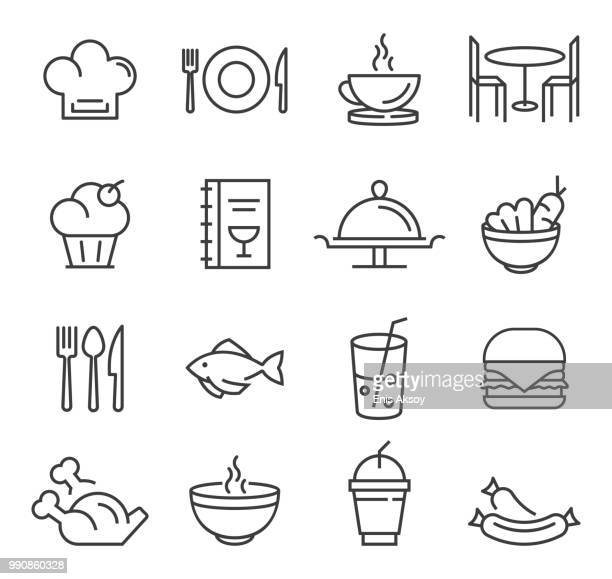 stockillustraties, clipart, cartoons en iconen met restaurant pictogrammen - food