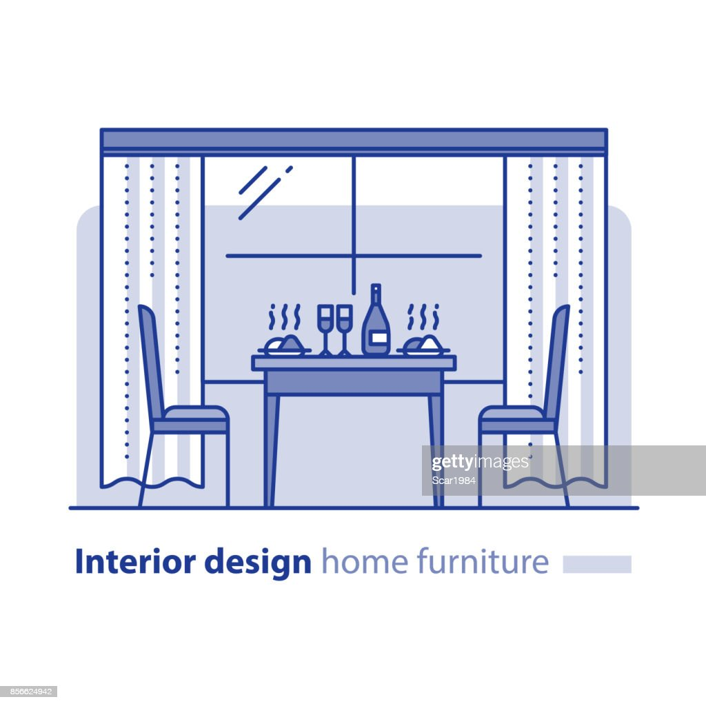 Restaurant interior, home kitchen table, dining room, furniture items