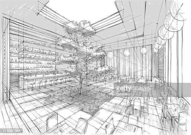 restaurant interior illustration - architecture stock illustrations