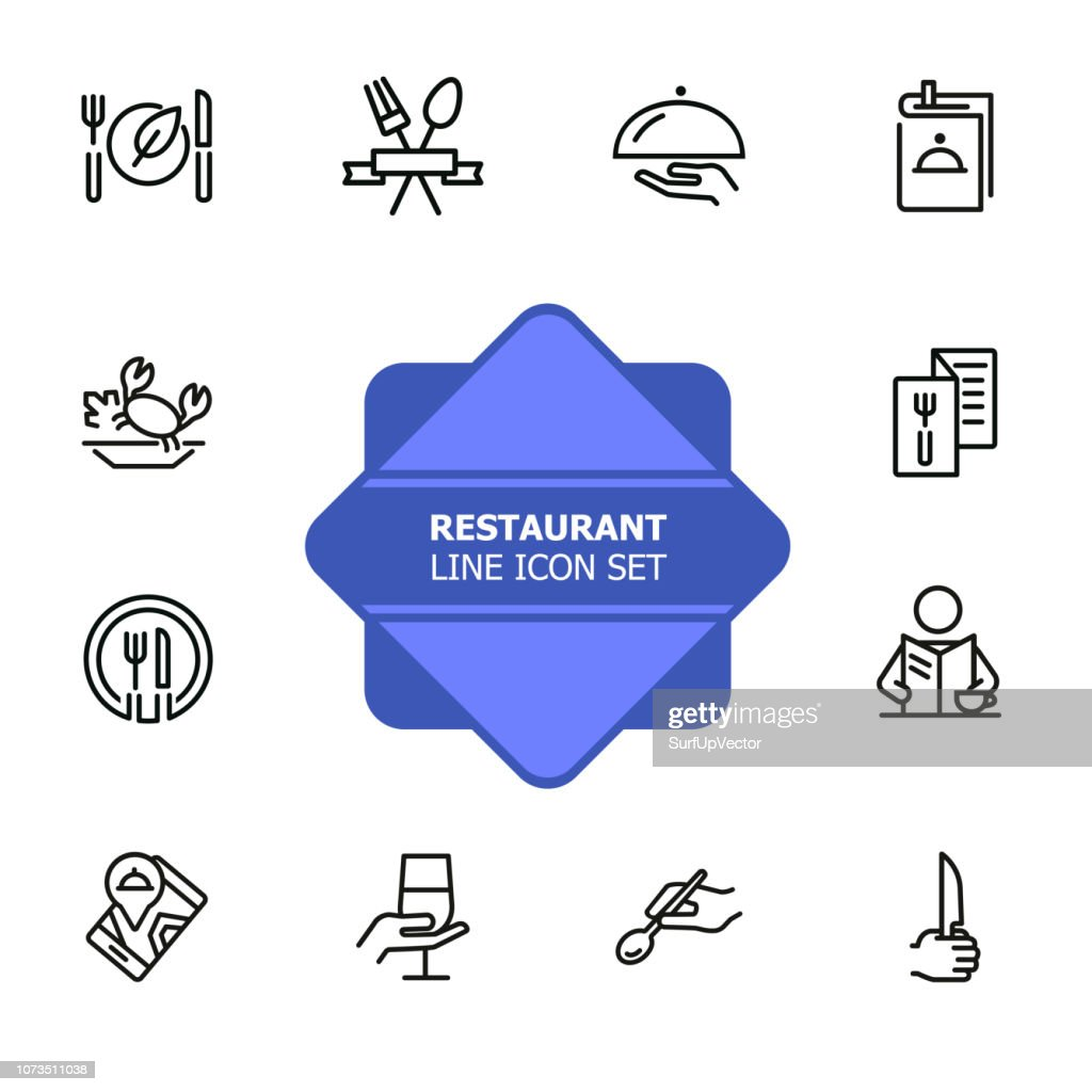 Restaurant line icon set