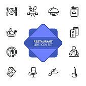 Restaurant line icon set