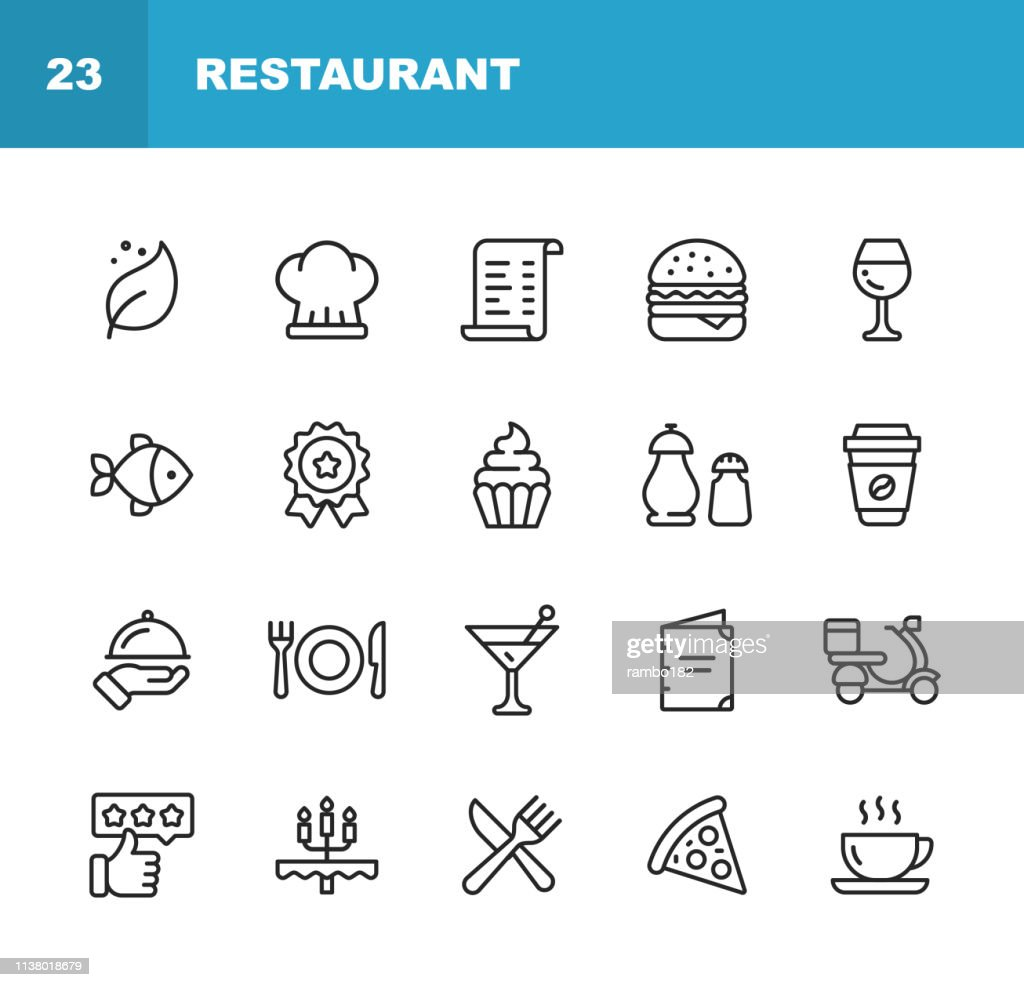 Restaurant Line Icons. Editable Stroke. Pixel Perfect. For Mobile and Web. Contains such icons as Vegan, Cooking, Food, Drinks, Fast Food, Eating. . : Stock Illustration