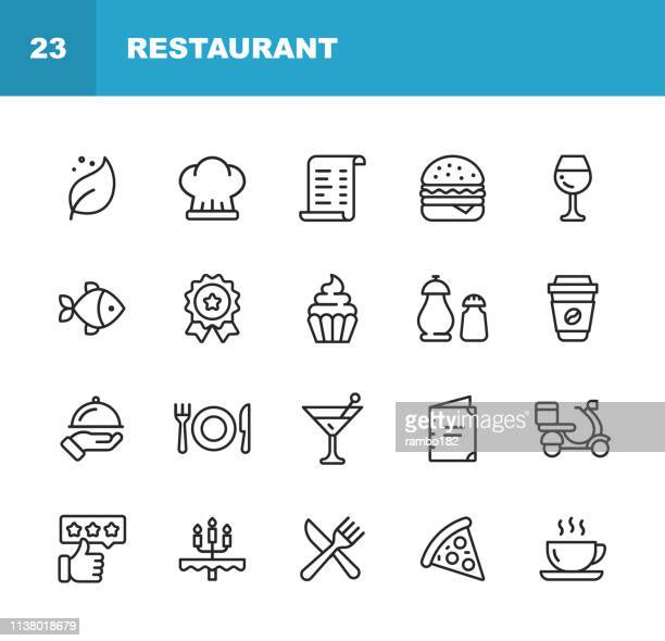 restaurant line icons. editable stroke. pixel perfect. for mobile and web. contains such icons as vegan, cooking, food, drinks, fast food, eating. . - food and drink stock illustrations