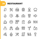 Restaurant Line Icons. Editable Stroke. Pixel Perfect. For Mobile and Web. Contains such icons as Vegan, Cooking, Food, Drinks, Fast Food, Eating. .
