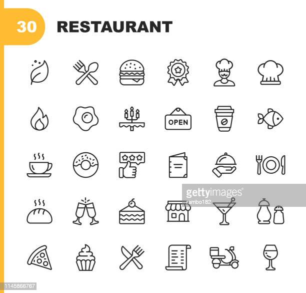 illustrazioni stock, clip art, cartoni animati e icone di tendenza di restaurant line icons. editable stroke. pixel perfect. for mobile and web. contains such icons as vegan, cooking, food, drinks, fast food, eating. . - immagine