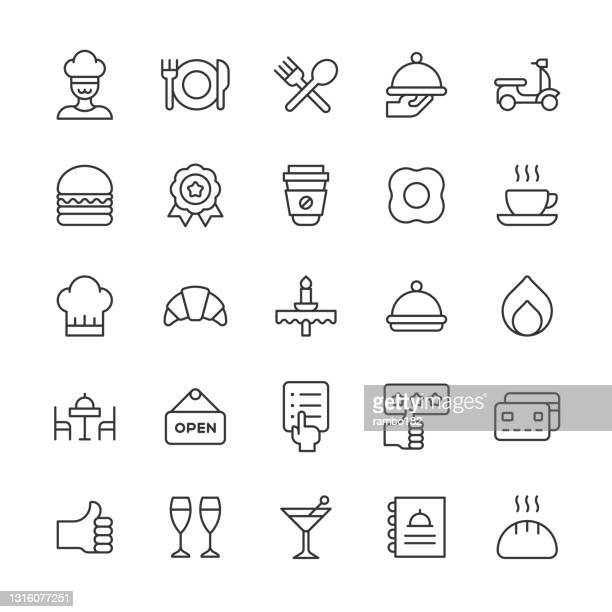 restaurant line icons. editable stroke. pixel perfect. for mobile and web. contains such icons as bakery, breakfast, chef, coffee, delivery, dessert, dinner, drink, food, kitchen, menu, pizza, restaurant, review, salad, steak, sushi, waiter, wine. - coffee drink stock illustrations
