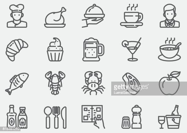 ilustrações, clipart, desenhos animados e ícones de ícones de restaurante linha - chef de cozinha