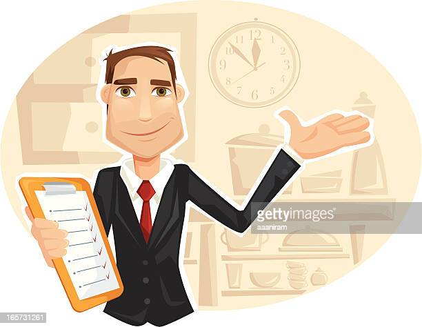 restaurant manager - to do list stock illustrations, clip art, cartoons, & icons