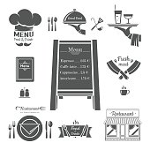 Restaurant menu design elements.