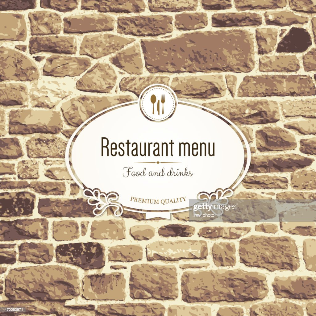 A restaurant menu design on a brick wall
