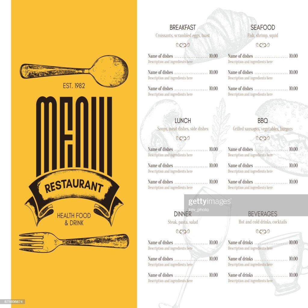 Restaurantmenüdesign Vektor Menüvorlage Broschüre Für Café ...