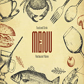 Restaurant menu design. Vector menu brochure template for cafe, coffee house, restaurant, bar
