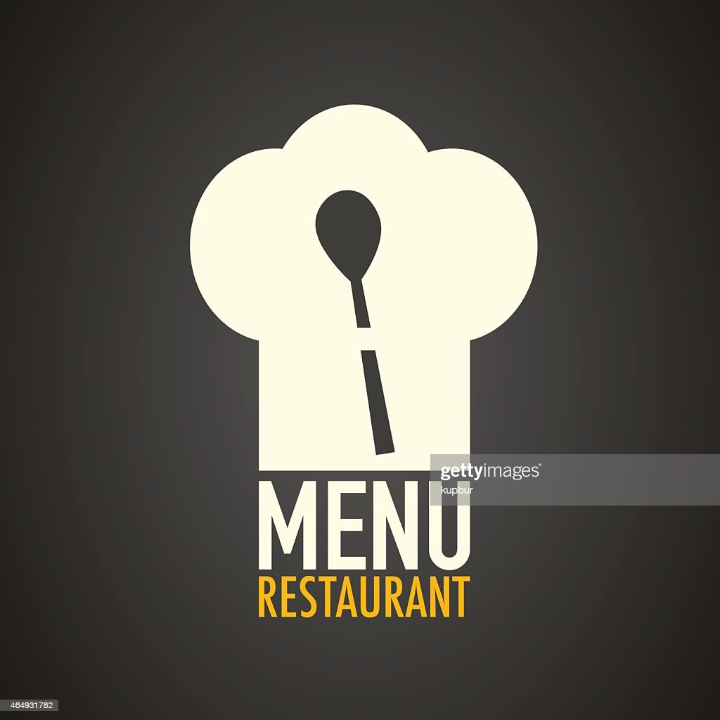 Restaurant menu design with chef's hat and serving spoon
