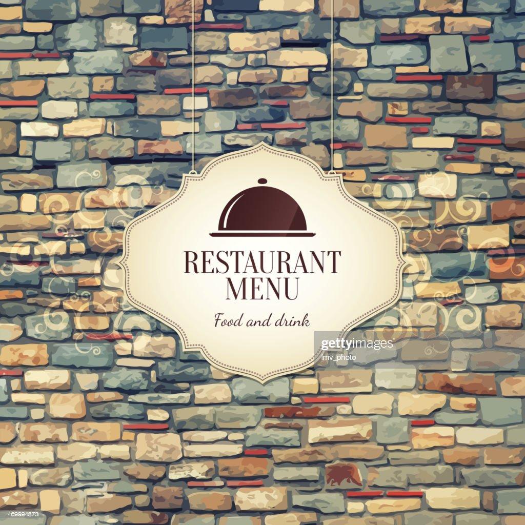 Restaurant menu design with colorful bricks