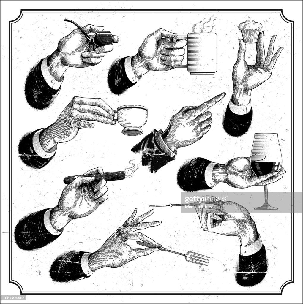 レストランメニューハンドセット : ストックイラストレーション