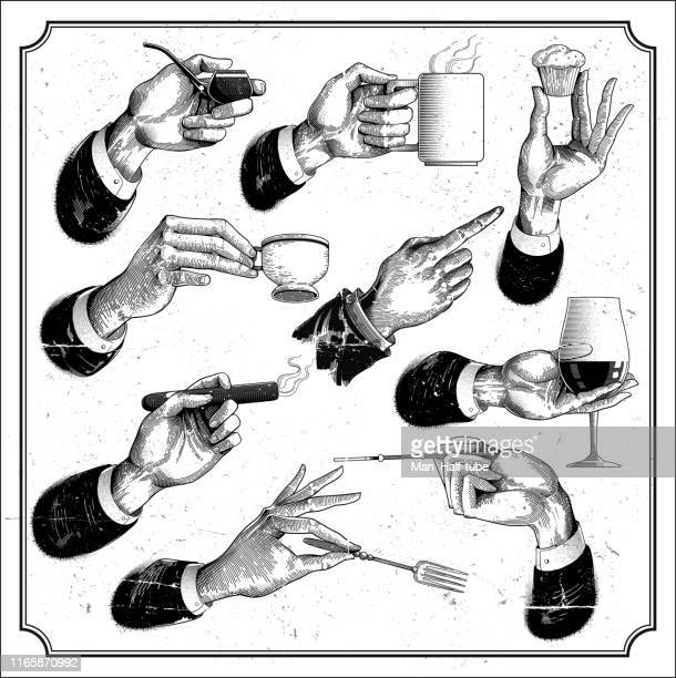 restaurant menu hands set - woodcut stock illustrations